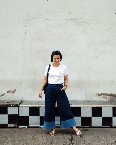 Culottes Denim with T-Shirt