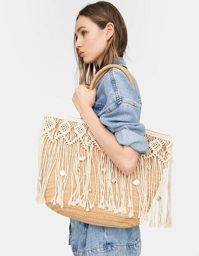 Tote Bag With Decorative Fringe