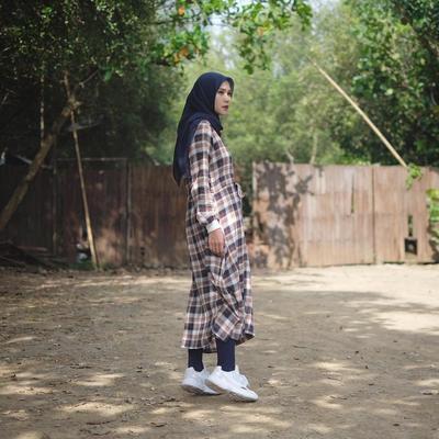 Midi Dress Gamis Kotak-Kotak Kekinian