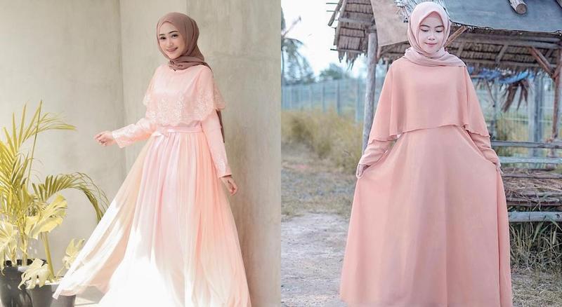 Inspirasi Tampilan Hijab Manis dengan Gamis Warna Peach
