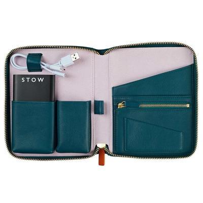 Pertama, Stow London Mini Leather Tech Case in Emerald Green
