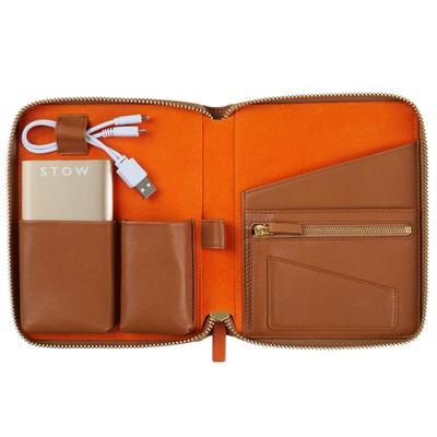 Kedua, Stow London Mini Leather Tech Case in Amber Orange
