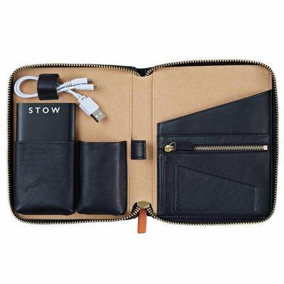Ketiga, Stow London Mini Leather Tech Case in Jet