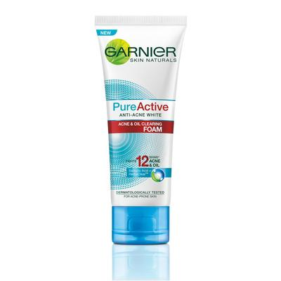 Garnier Pure Active Anti-Acne White Multi Action Foam untuk Kulit Berjerawat