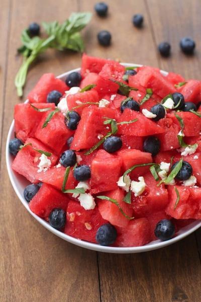 Watermelon Basil and Feta Salad