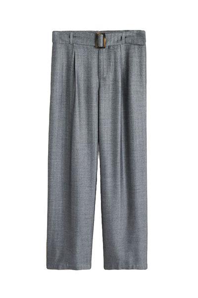 Belt Herringbone Trousers