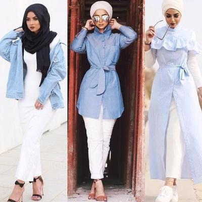 5 Perpaduan Busana Warna Biru yang Menenangkan di Bulan Ramadan