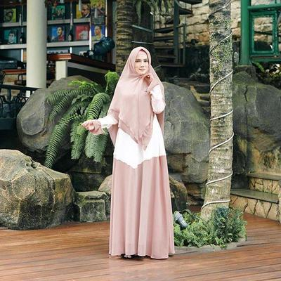 5.Gamis White and Peach Brown Simple