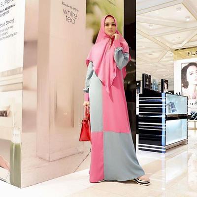 8. Gamis Syari Grey Pink