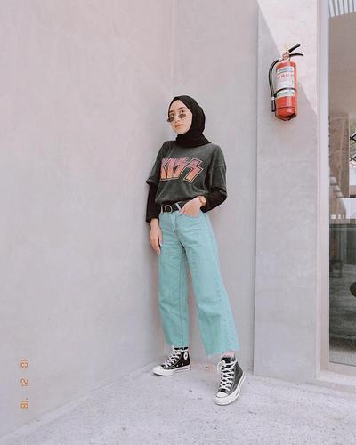 Jeans Kulot + Kaos dan Inner