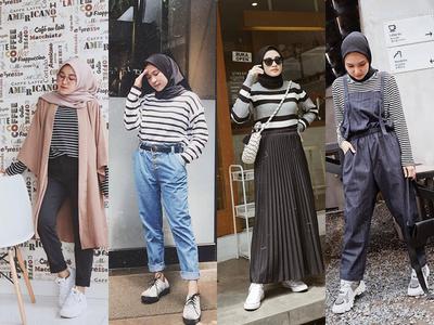 Biar Enggak Mati Gaya, Intip 7 Padu Padan Kaos Stripe untuk OOTD Hijabers