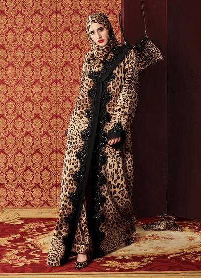 Abaya Model Hoodie Motif Leopard