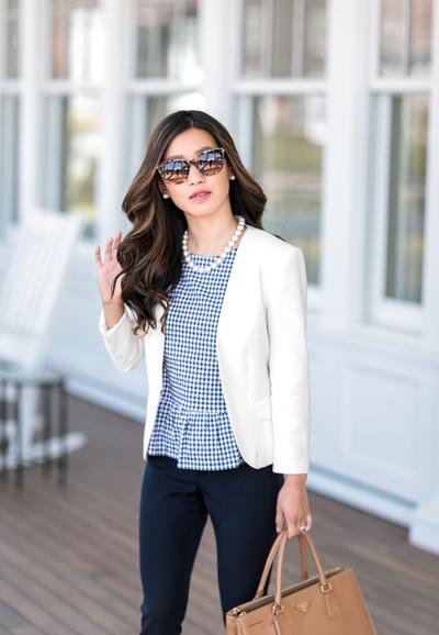 Blue Peplum and White Blazer