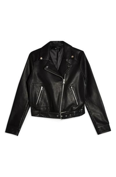 Topshop Kota Crop Faux-Leather Moto Jacket