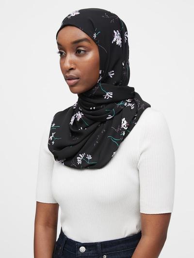 Banana Republic Rectangular Hijab (Black Print)