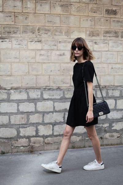 2. White Sneakers + Black Dress