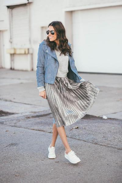3. White Sneakers + Denim Jaket + Accordion Skirt