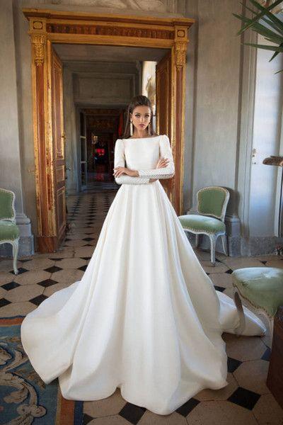 2. Long Sleeve Satin Wedding Dress