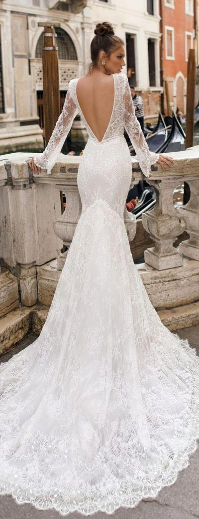 5. Long Sleeve Backless Wedding Dress