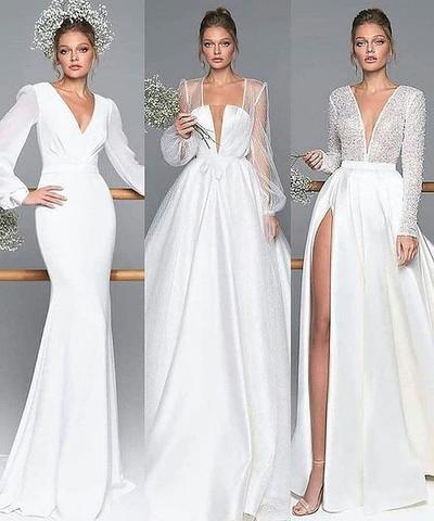 12.  Long Sleeve V-Neck Wedding Dress