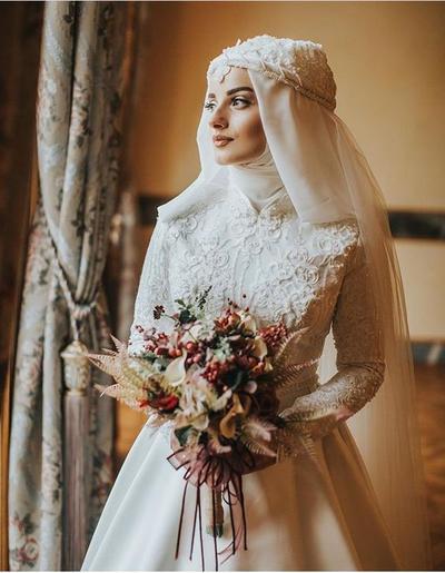 13. Long Sleeve High Neck Wedding Dress