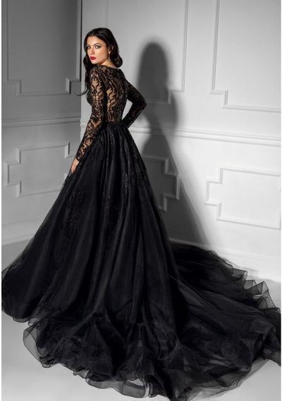 15. Long Sleeve Black Wedding Dress