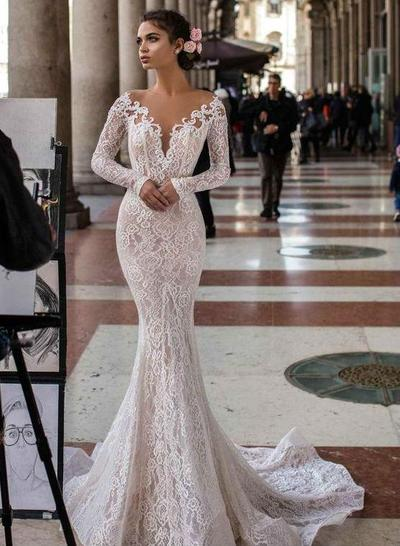 3. Long Sleeve Mermaid Wedding Dress