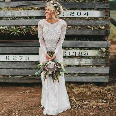 6. Long Sleeve Bohemian Wedding Dress