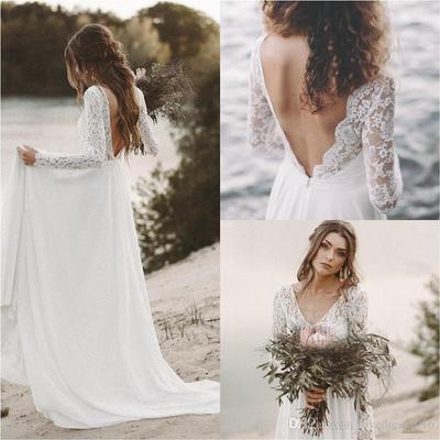 7. Long Sleeve Beach Wedding Dress