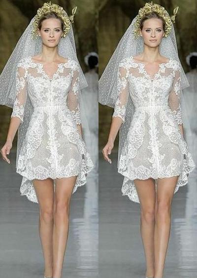 8. Long Sleeve Short Wedding Dress