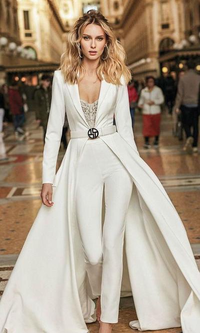 9. Long Sleeve Simple Casual Wedding Dress