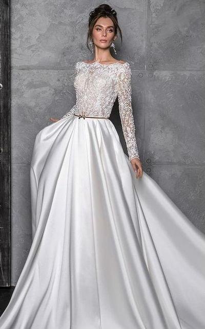 10.  Long Sleeve Off the Shoulder Wedding Dress