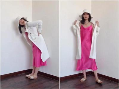 Slip Dress dengan Long Outer dan Topi
