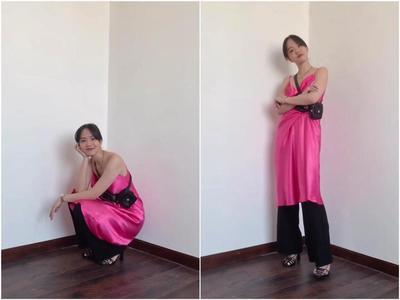 Slip Dress dengan Celanan Panjang dan Belt Bag