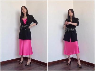 Slip Dress dengan Blazer dan Heels