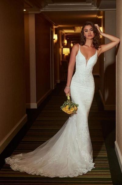 Long Train Mermaid Wedding Dress