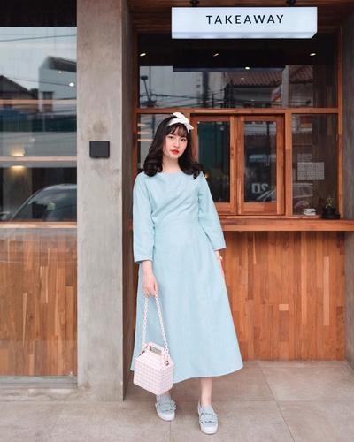 Blue A-Line Midi Dress