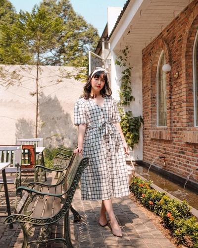 Plaid Vintage Midi Dress