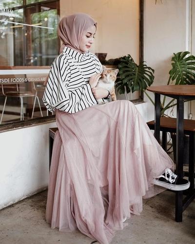 ootd hijab rok tutu