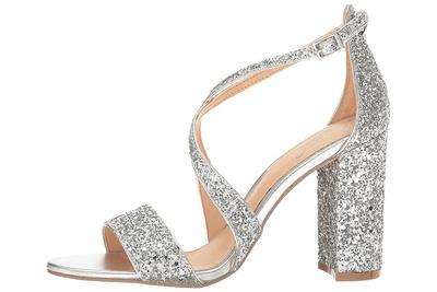 block heels with glitter