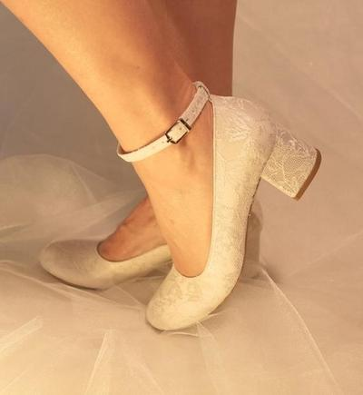 block heels with lace